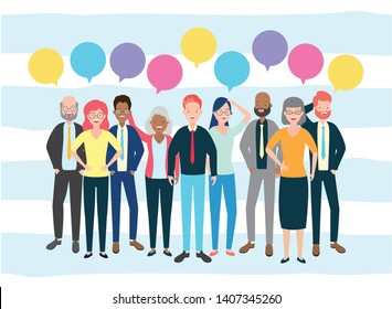 diversity man and woman characters speech bubble talk vector illustration