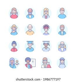 Diversity - modern line design style icons set. Images of men and women of different age, gender, ethnicity, physical abilities, professions. Senior, adult, African, Chinese, Arab, Jewish characters