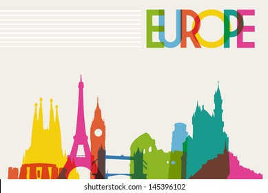 Diversity monuments of Europe, famous landmark colors transparency.  Vector illustration layered for easy manipulation and custom coloring.