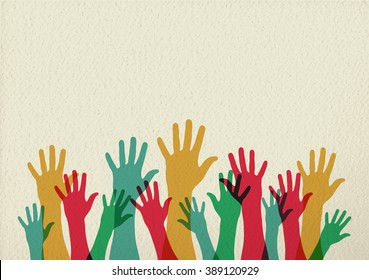 Diversity people group raising hands, colorful diverse teamwork collaboration concept illustration on texture background. EPS10 vector.