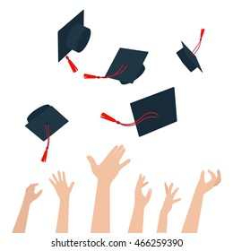Diversity Of People Holding Certificates And Throwing Graduation Caps Vector