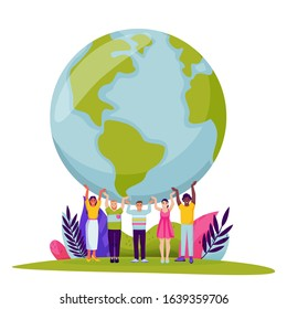 Diversity people holding Earth planet. Vector flat cartoon illustration for Save the Earth Day. Tiny men and women hold world globe on hands. Environment, ecology, nature conservation abstract concept
