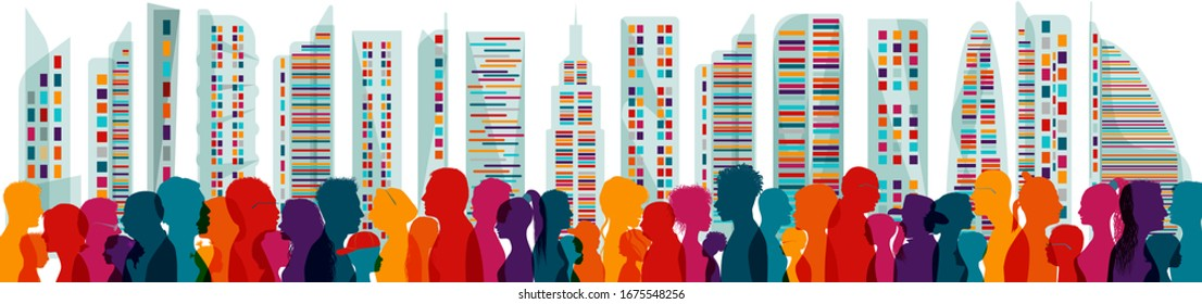 Diversity people. Population. Different multiethnic people of different ages. Groups of families. Crowd. Communication. Dialogue. Sharing among many multiracial people. Speak. Crowding