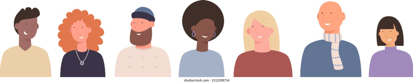 Diversity people vector portrait set. Hand drawn flat characters - men and women. Male and female avatars. Different ethnicities and fashion styles. Humanity, mankind, fraternity, community concept.