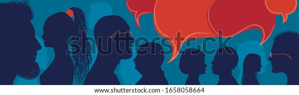 Diversity people.Speech bubble. Crowd talking and inform.Communicate between a group of multiethnic and multicultural people who talk and share ideas. Profile silhouette. Socialize.Blue
