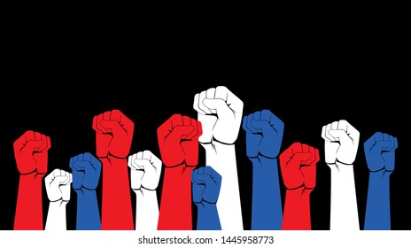 diversity Raised fist hand protest in flat icon design on black color background