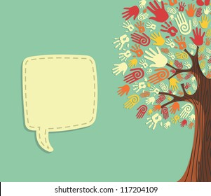 Diversity tree hands illustration with blank for text greeting card template. Vector file layered for easy manipulation and custom coloring.