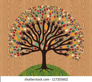 Diversity tree hands illustration for greeting card over wooden pattern. Vector file layered for easy manipulation and custom coloring.