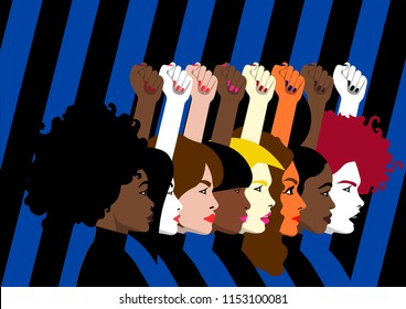 Diversity - Violence Against Women - Global March for Equality - Face and Hands of Different Women