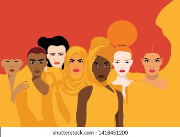 Diversity - Violence Against Women - Global March for Equality - Silhouette of Different Women una a Red Background