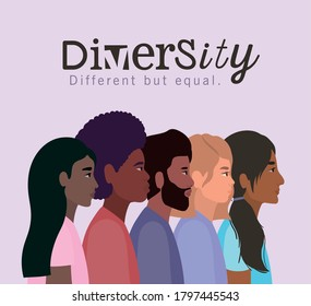 diversity women and men cartoons design, people multiethnic race and community theme Vector illustration - Shutterstock ID 1797445543