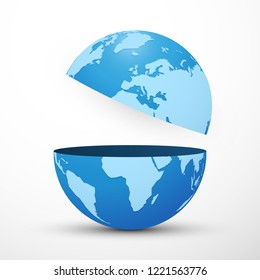 divided planet earth globe