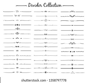 Divider ornament big set collection. Hand drawn vector dividers of Lines, borders and laurels set in doodle style design vector.