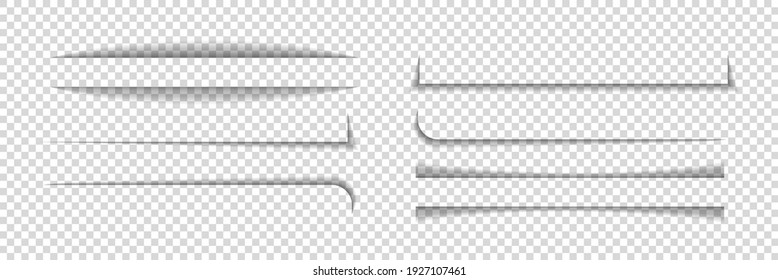 Divider shadow lines. Divider of paper with shadows. Box for web page. Banner with frame on transparent background. Design borders with effect for text. Set of graphic element for website. Vector.