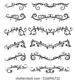 Dividers. Filigree floral decorations isolated on white background. Vector illustration