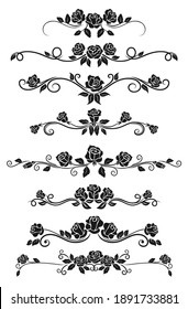 Dividers and frame border lines vector design with black rose flowers. Floral ornament and ornate pattern of rose vine swirls, blossom, buds and leaves, vintage vignette and calligraphy elements