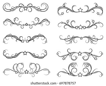 Dividers with stars. Decorative design border elements for frames and books. Elegant swirl vector illustration.