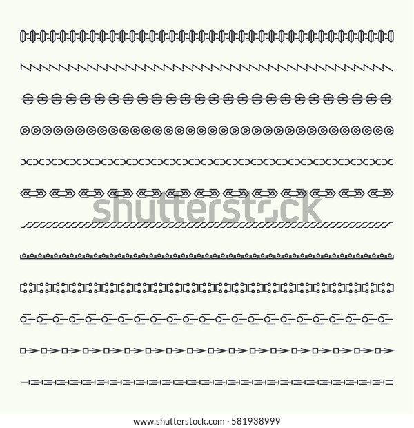 Dividers vector set isolated. Geometric horizontal vintage line border and text design element. Collection of decorative page rules.