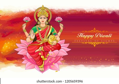 The divine Hindu goddess Lakshmi bringing wealth in the festival of Diwali.