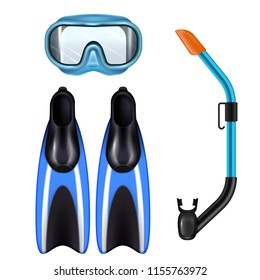 Diving accessories realistic set with snorkel breathing tube mask and flippers for underwater sport blue vector illustration