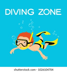 Diving background. Cartoon boy dives into the mask under water.