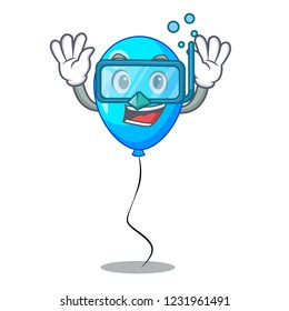 Diving blue balloon character on the rope