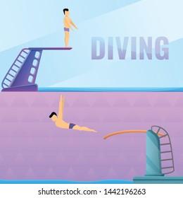 Diving board banner set. Cartoon illustration of diving board vector banner set for web design