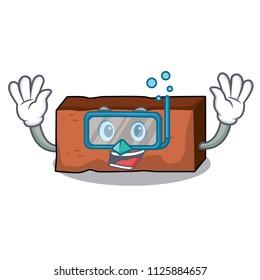 Diving brick character cartoon style