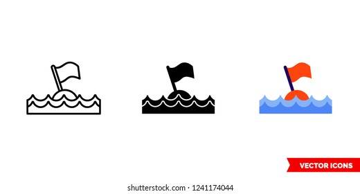 Diving buoy icon of 3 types: color, black and white, outline. Isolated vector sign symbol.