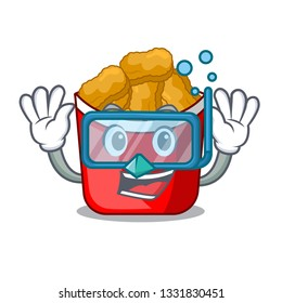 Diving Chicken nuggets on above cartoon plate