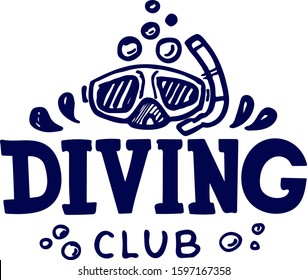 diving club and diving school design. Concept for shirt or logo, print, stamp or tee. Vector illustration. EPS 10