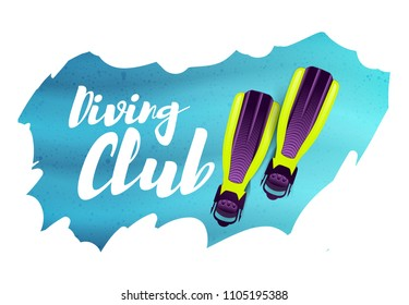 Diving club. Vector illustration with flippers