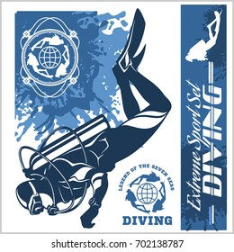 diving club vector illustration and labels set