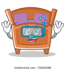 Diving cute bed character cartoon