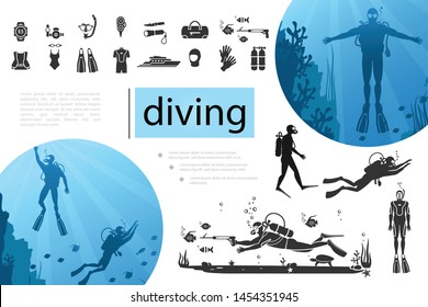 Diving elements composition with divers silhouettes smartwatch scuba mask knife flashlight underwater gun flippers boat helmet oxygen balloons icons vector illustration