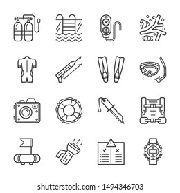 Diving equipment, accessories and scuba gear thin line icons set. Outline editable stroke vector illustrations. Lifebuoy, corals, wetsuit, snorkel, torch, compass, camera, speargun, knife, mask, watch