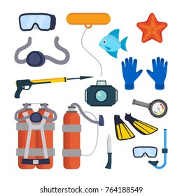 Diving Equipment Set Vector. Scuba Diver Accessories. Mask, Tube, Buoy, Starfish, Fish, Underwater Gun, Camera, Oxygen Tank, Knife, Flippers, Pressure Depth Sensor. Isolated Flat Cartoon Illustration
