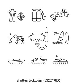Diving and freediving equipment, boats thin line art icons set. Modern black style symbols isolated on white for infographics or web use.