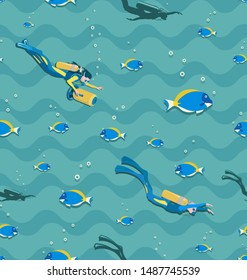 Diving girls, scooter and tropical fish. Seamless pattern. Young woman in a wetsuit and with a scooter swimming underwater. Underwater background.