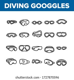 Diving Goggles Tool Collection Icons Set Vector. Diving Goggles Safety Glasses Accessory For Swimming In Sea, Ocean Or Water Pool Concept Linear Pictograms. Monochrome Contour Illustrations