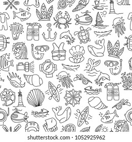 Diving hand draw cartoon seamless pattern. Diving and water sport and adventure repeatable background with diving and scuba equipment, sea life, animals and cartoon vector elements. Diving seamless