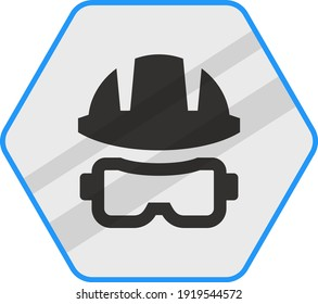 Diving helmet and Goggles Concept Vector Blue Color Icon Design, Pool and beach safety equipment  on white background,  Divers Gadget, Swimming Sports hexagon signboard mockup stock illustration