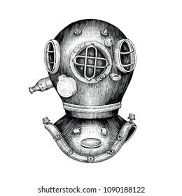 Diving helmet hand drawing vintage style