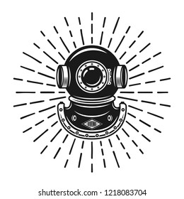 Diving helmet in vintage style with rays vector decorative object isolated on white background