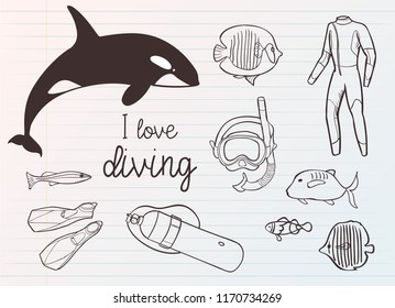 Diving icon doodle set. Underwater. Sea and ocean adventure. Summertime. Kids drawing. Doodle image. Cartoon creatures.