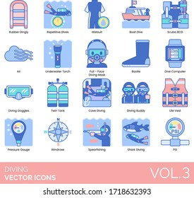 Diving icons including rubber dinghy, repetitive, wetsuit, boat, scuba BCD, air, underwater torch, full face mask, bootie, computer, goggles, twin tank, cave, buddy, life vest, pressure gauge, shark.