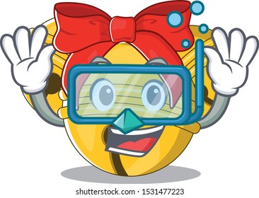 Diving Jingle bell cartoon isolated with mascot