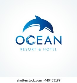 Diving jumping dolphin resort & hotel logotype. Ocean creative font. Brand emblem of tourism, surfing, journey service, abstract isolated round graphic template concept. Wildlife and letteting element