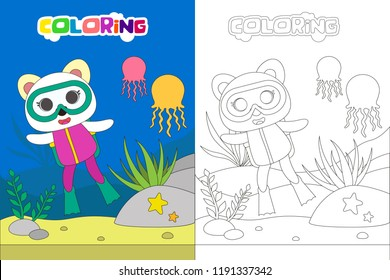 Diving kids coloring book or page, vector cartoon illustration with animal character