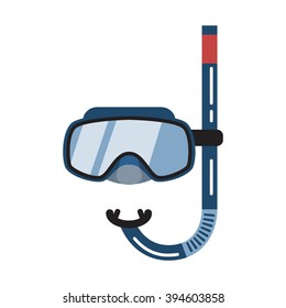 Diving mask icon isolated on a white background. Mask and tube for diving. Flat style vector illustration